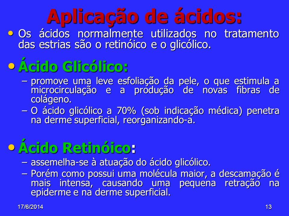 17/6/201413 Aplicação de ácidos: Os ácidos normalmente utilizados no tratamento das estrias são o retinóico e o glicólico. Os ácidos normalmente utili
