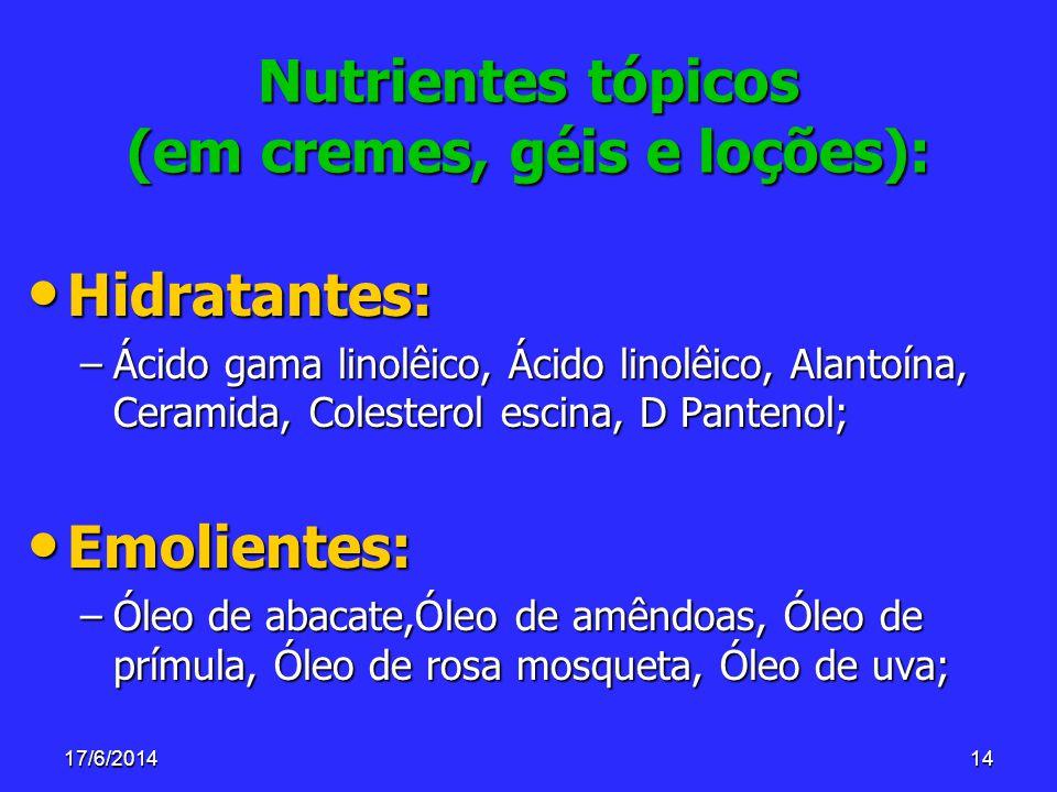 17/6/201414 Nutrientes tópicos (em cremes, géis e loções): Hidratantes: Hidratantes: –Ácido gama linolêico, Ácido linolêico, Alantoína, Ceramida, Cole