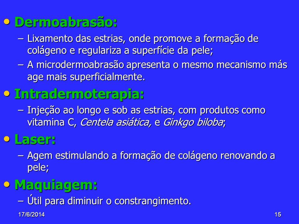 17/6/201415 Dermoabrasão: Dermoabrasão: –Lixamento das estrias, onde promove a formação de colágeno e regulariza a superfície da pele; –A microdermoab