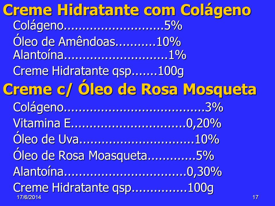 17/6/201417 Creme Hidratante com Colágeno Colágeno...........................5% Óleo de Amêndoas...........10% Alantoína............................1%
