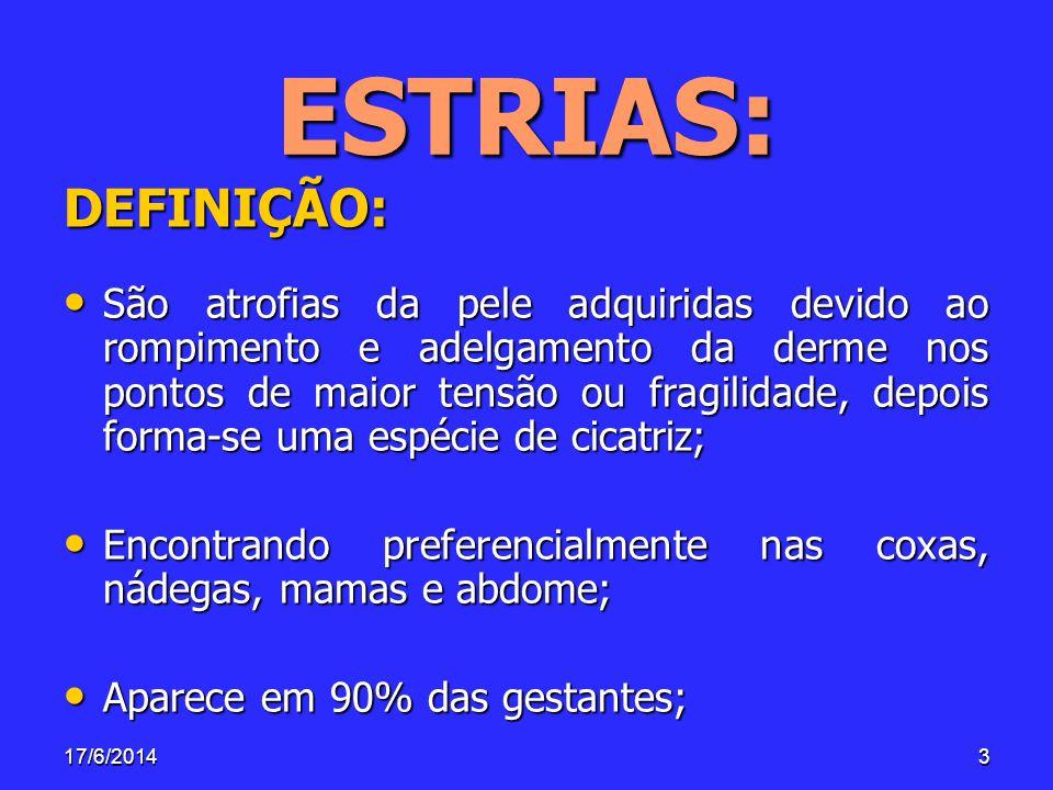 17/6/201424 CAUSAS: Determinantes ou Primárias : Determinantes ou Primárias : –Hereditariedade, idade, fatores vasculares e hormonais.
