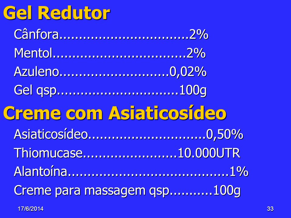 17/6/201433 Gel Redutor Cânfora.................................2%Mentol..................................2%Azuleno............................0,02% G