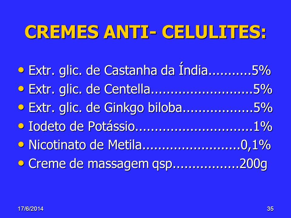 17/6/201435 CREMES ANTI- CELULITES: Extr. glic. de Castanha da Índia...........5% Extr. glic. de Castanha da Índia...........5% Extr. glic. de Centell