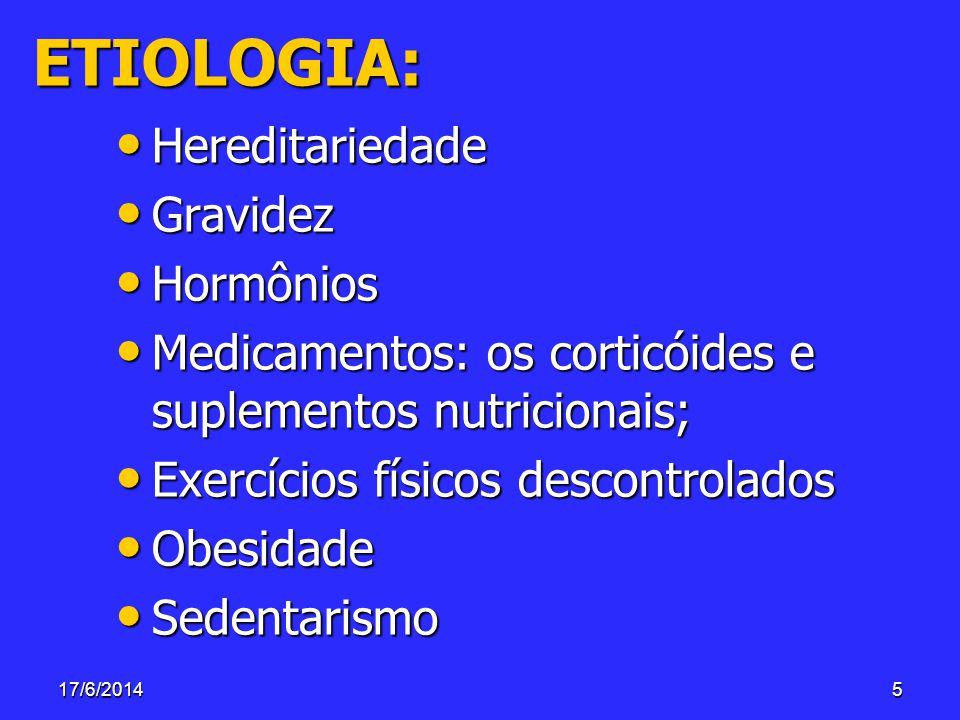 17/6/20145 ETIOLOGIA: Hereditariedade Hereditariedade Gravidez Gravidez Hormônios Hormônios Medicamentos: os corticóides e suplementos nutricionais; M
