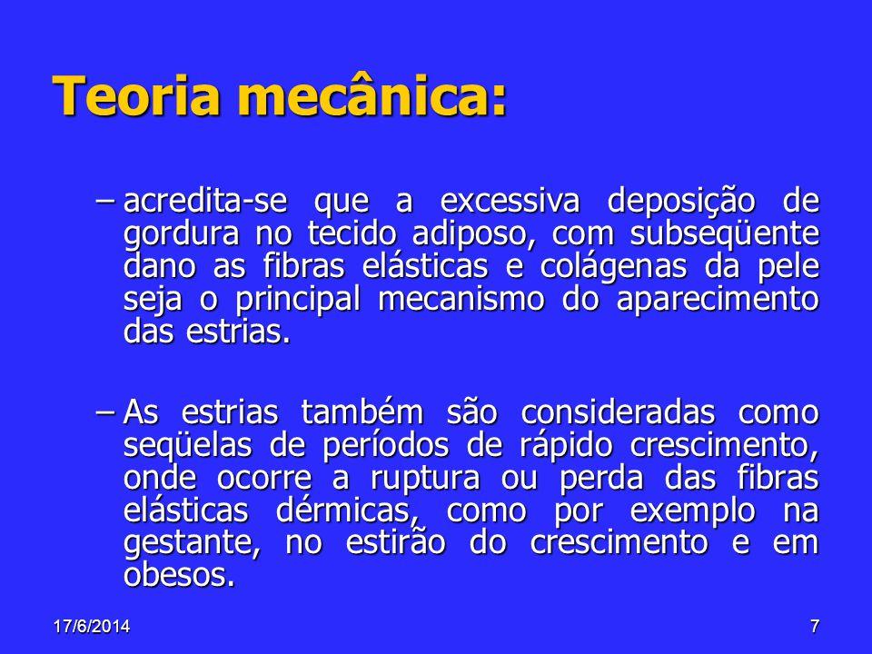 Teoria mecânica: –acredita-se que a excessiva deposição de gordura no tecido adiposo, com subseqüente dano as fibras elásticas e colágenas da pele sej
