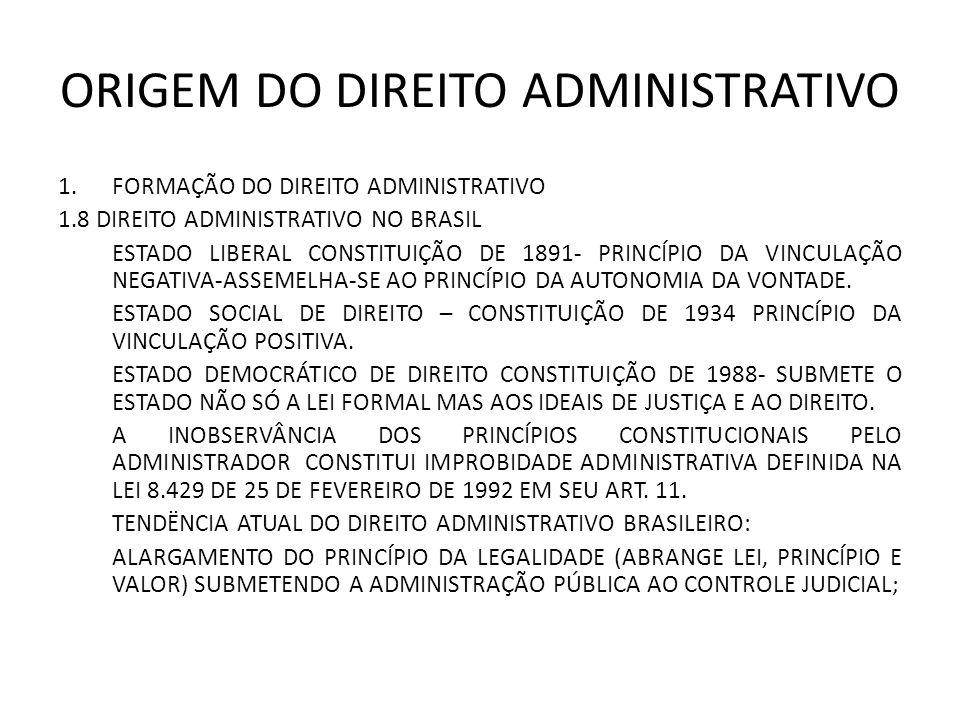 ORIGEM DO DIREITO ADMINISTRATIVO 1.FORMAÇÃO DO DIREITO ADMINISTRATIVO 1.8 DIREITO ADMINISTRATIVO NO BRASIL ESTADO LIBERAL CONSTITUIÇÃO DE 1891- PRINCÍPIO DA VINCULAÇÃO NEGATIVA-ASSEMELHA-SE AO PRINCÍPIO DA AUTONOMIA DA VONTADE.