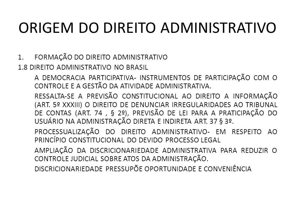 ORIGEM DO DIREITO ADMINISTRATIVO 1.FORMAÇÃO DO DIREITO ADMINISTRATIVO 1.8 DIREITO ADMINISTRATIVO NO BRASIL A DEMOCRACIA PARTICIPATIVA- INSTRUMENTOS DE PARTICIPAÇÃO COM O CONTROLE E A GESTÃO DA ATIVIDADE ADMINISTRATIVA.