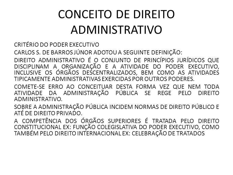 CONCEITO DE DIREITO ADMINISTRATIVO CRITÉRIO DO PODER EXECUTIVO CARLOS S.