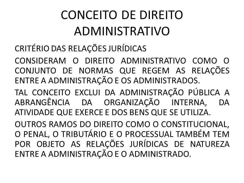 CONCEITO DE DIREITO ADMINISTRATIVO CRITÉRIO DAS RELAÇÕES JURÍDICAS CONSIDERAM O DIREITO ADMINISTRATIVO COMO O CONJUNTO DE NORMAS QUE REGEM AS RELAÇÕES ENTRE A ADMINISTRAÇÃO E OS ADMINISTRADOS.
