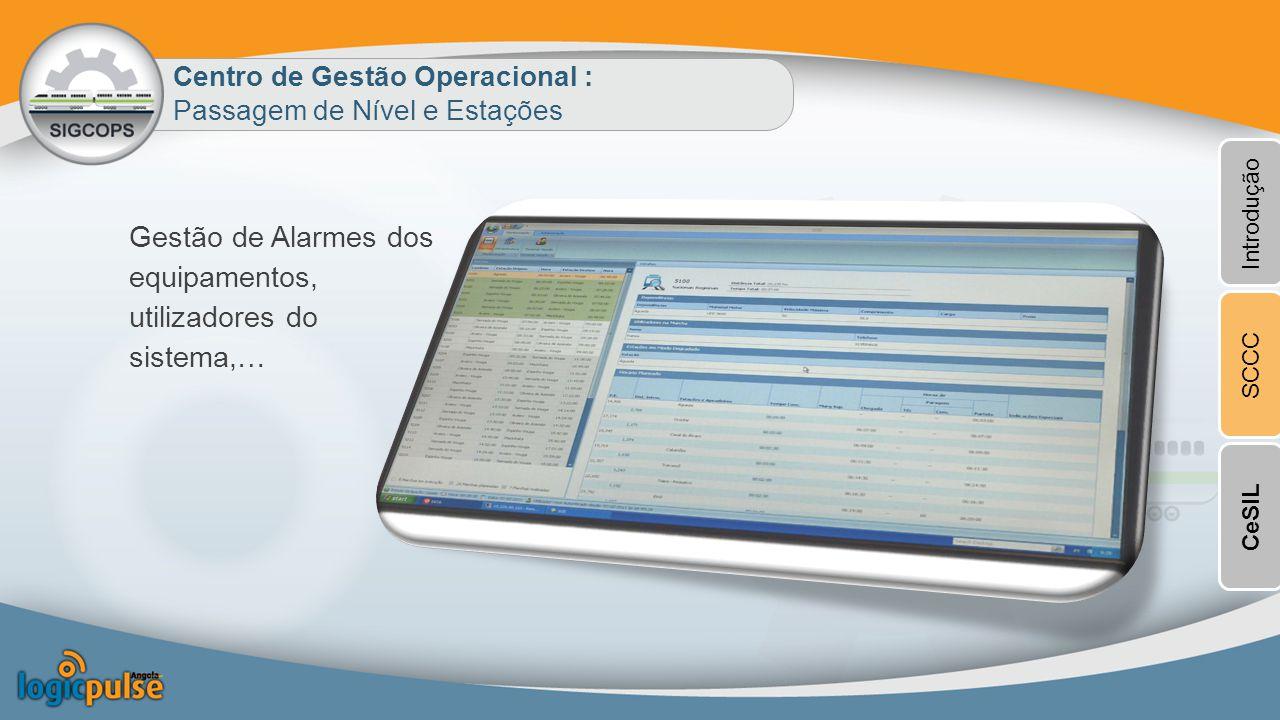 Centro de Gestão Operacional : Passagem de Nível e Estações Gestão de Alarmes dos equipamentos, utilizadores do sistema,… Introdução SCCCCeSIL