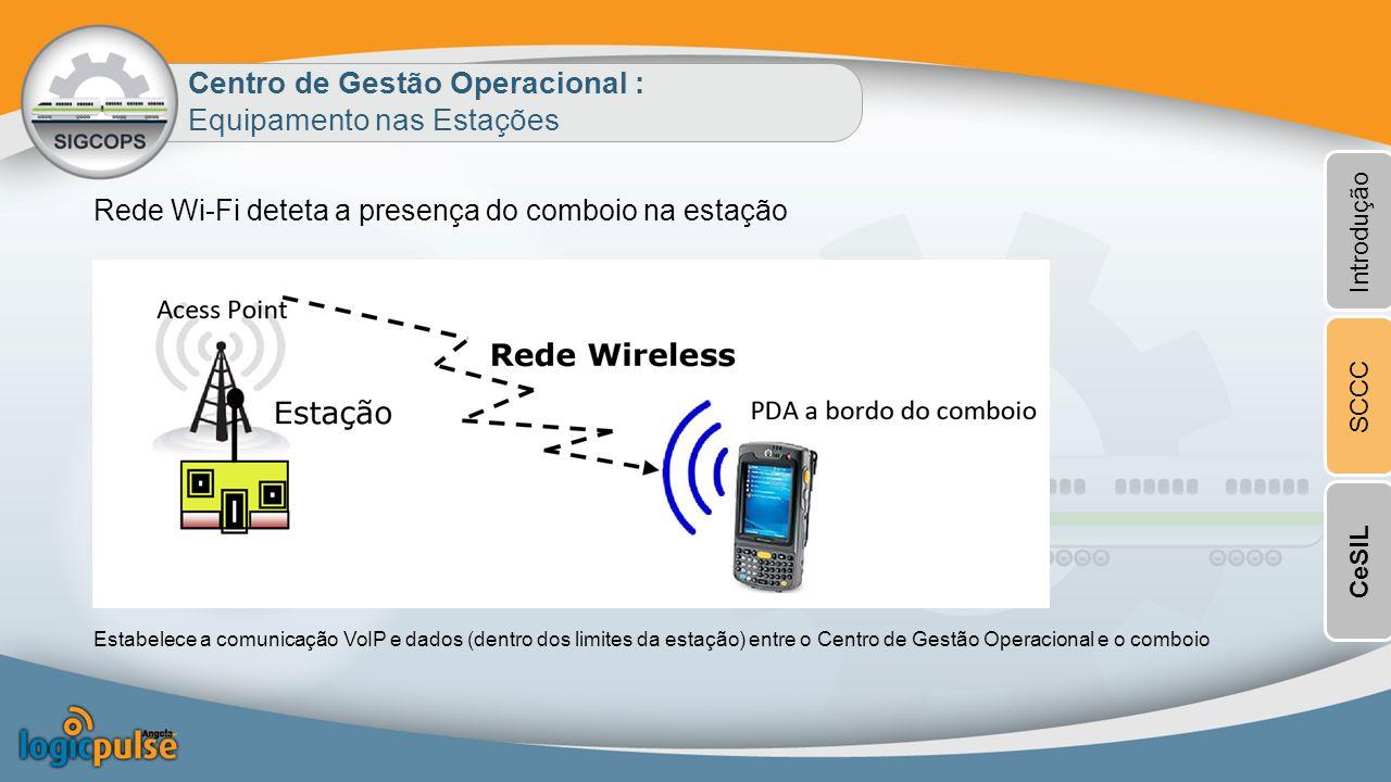 Rede Wi-Fi deteta a presença do comboio na estação Centro de Gestão Operacional : Equipamento nas Estações Estabelece a comunicação VoIP e dados (dentro dos limites da estação) entre o Centro de Gestão Operacional e o comboio Introdução SCCCCeSIL
