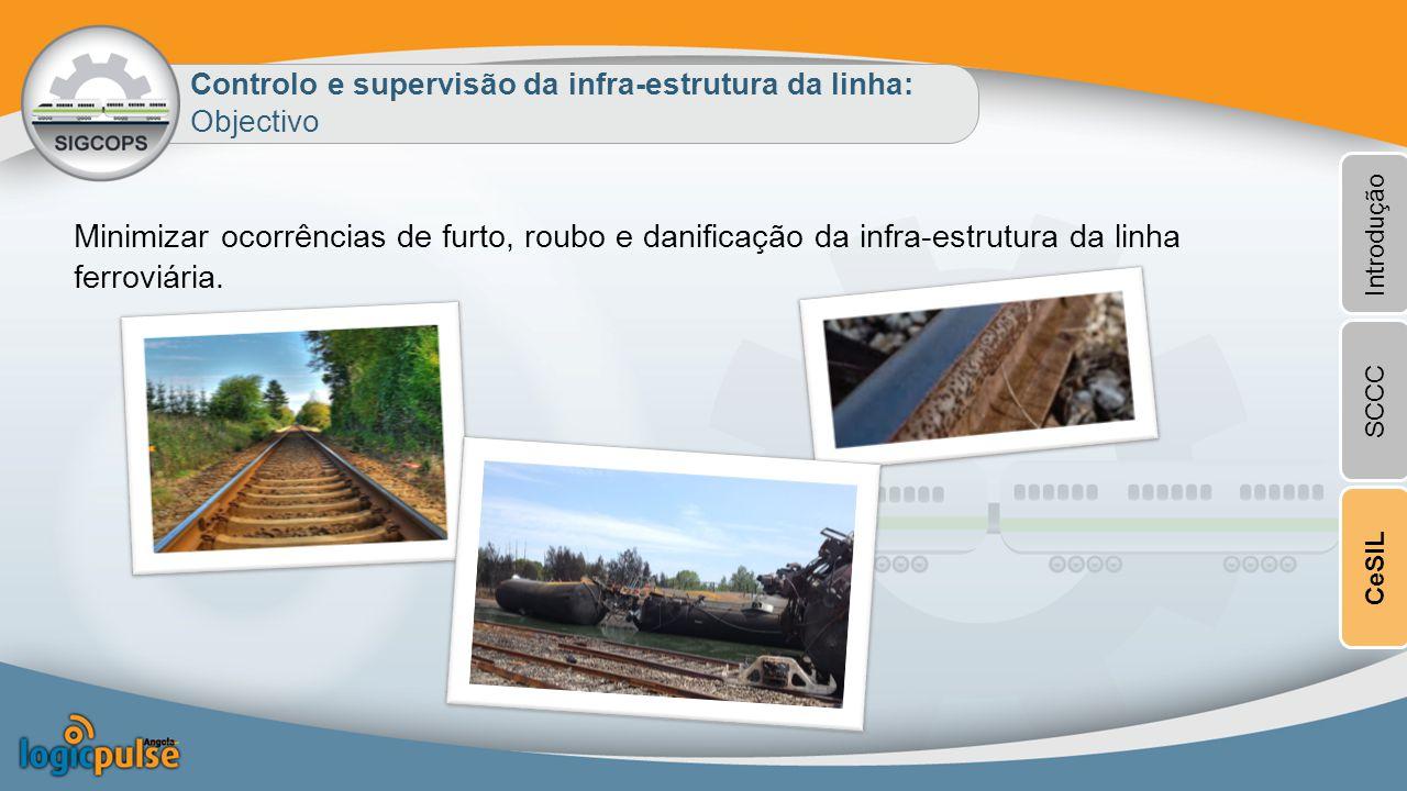 Controlo e supervisão da infra-estrutura da linha: Objectivo Minimizar ocorrências de furto, roubo e danificação da infra-estrutura da linha ferroviária.