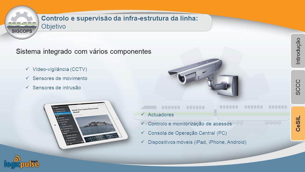 Controlo e supervisão da infra-estrutura da linha: Objetivo Sistema integrado com vários componentes Vídeo-vigilância (CCTV) Sensores de movimento Sensores de intrusão Actuadores Controlo e monitorização de acessos Consola de Operação Central (PC) Dispositivos móveis (iPad, iPhone, Android) Introdução SCCCCeSIL