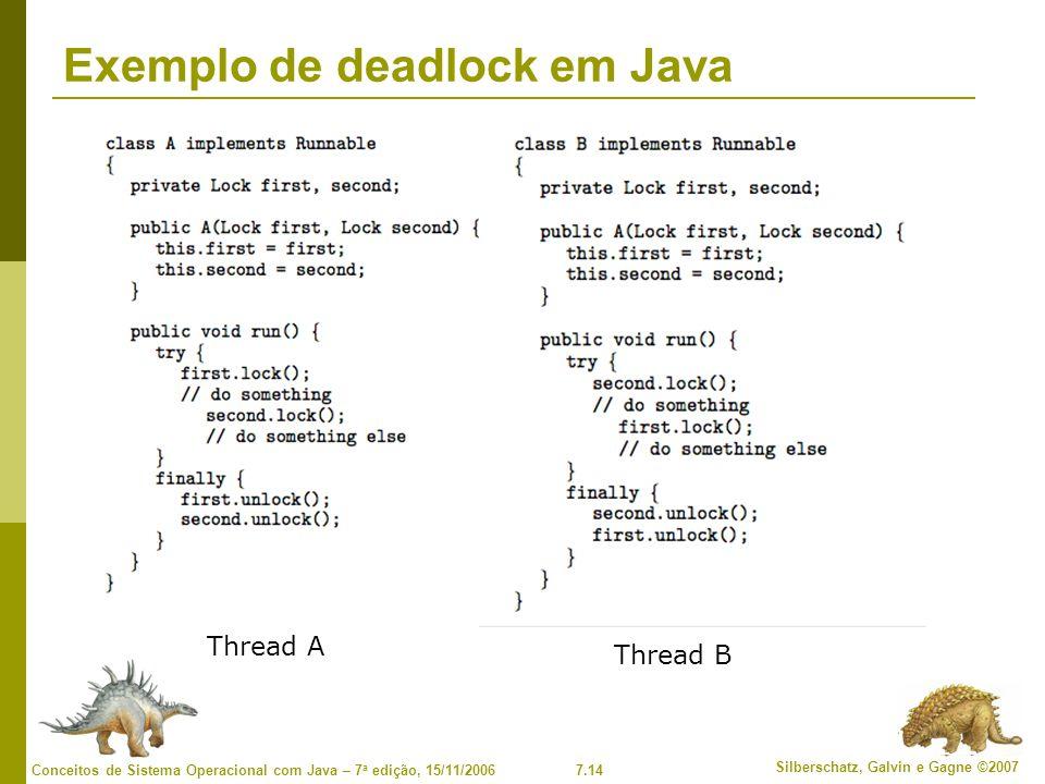 7.14 Silberschatz, Galvin e Gagne ©2007 Conceitos de Sistema Operacional com Java – 7 a edição, 15/11/2006 Exemplo de deadlock em Java Thread A Thread B