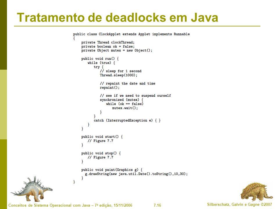 7.16 Silberschatz, Galvin e Gagne ©2007 Conceitos de Sistema Operacional com Java – 7 a edição, 15/11/2006 Tratamento de deadlocks em Java