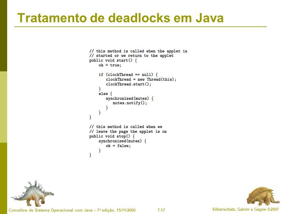 7.17 Silberschatz, Galvin e Gagne ©2007 Conceitos de Sistema Operacional com Java – 7 a edição, 15/11/2006 Tratamento de deadlocks em Java