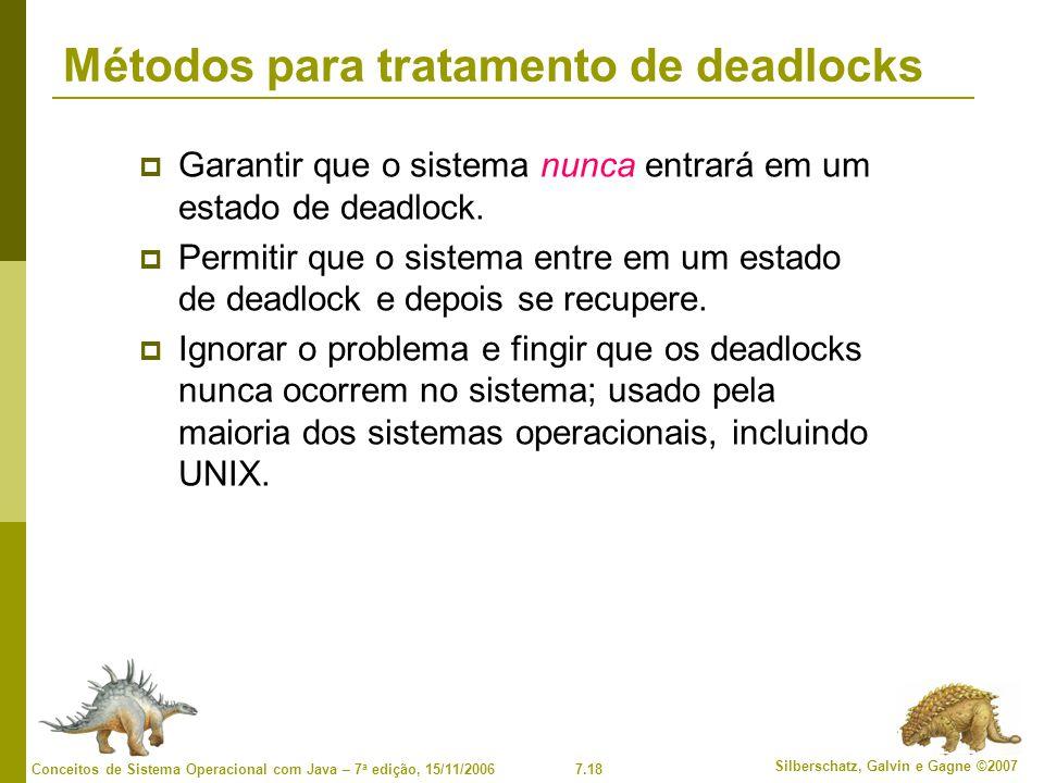 7.18 Silberschatz, Galvin e Gagne ©2007 Conceitos de Sistema Operacional com Java – 7 a edição, 15/11/2006 Métodos para tratamento de deadlocks Garantir que o sistema nunca entrará em um estado de deadlock.