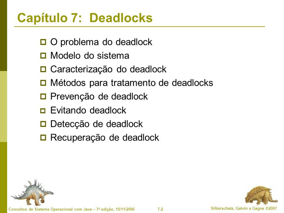 7.2 Silberschatz, Galvin e Gagne ©2007 Conceitos de Sistema Operacional com Java – 7 a edição, 15/11/2006 Capítulo 7: Deadlocks O problema do deadlock Modelo do sistema Caracterização do deadlock Métodos para tratamento de deadlocks Prevenção de deadlock Evitando deadlock Detecção de deadlock Recuperação de deadlock