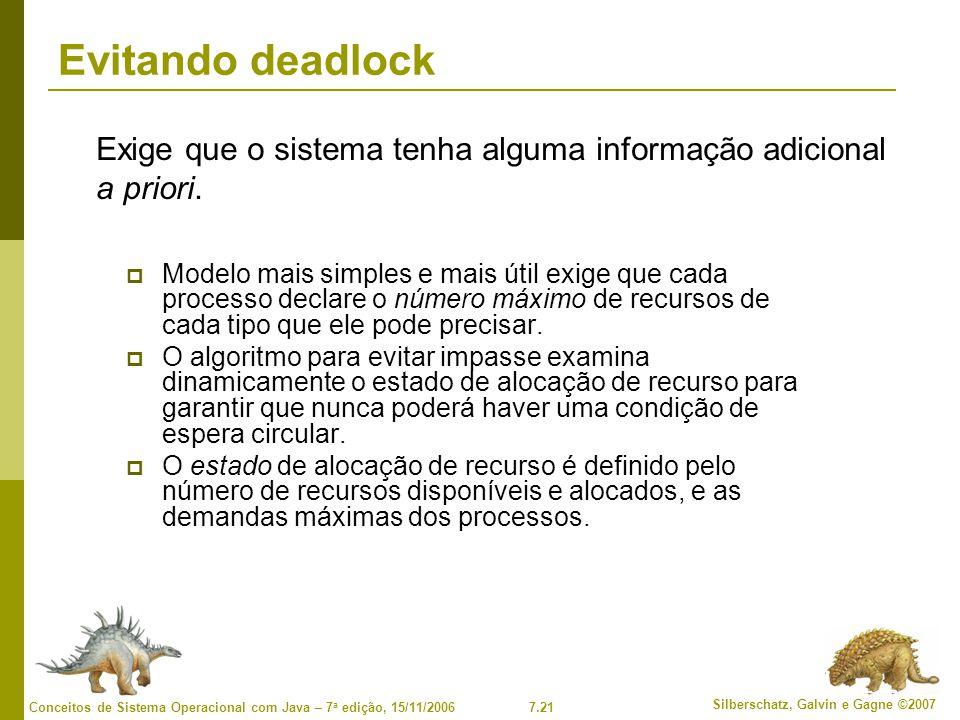 7.21 Silberschatz, Galvin e Gagne ©2007 Conceitos de Sistema Operacional com Java – 7 a edição, 15/11/2006 Evitando deadlock Modelo mais simples e mai