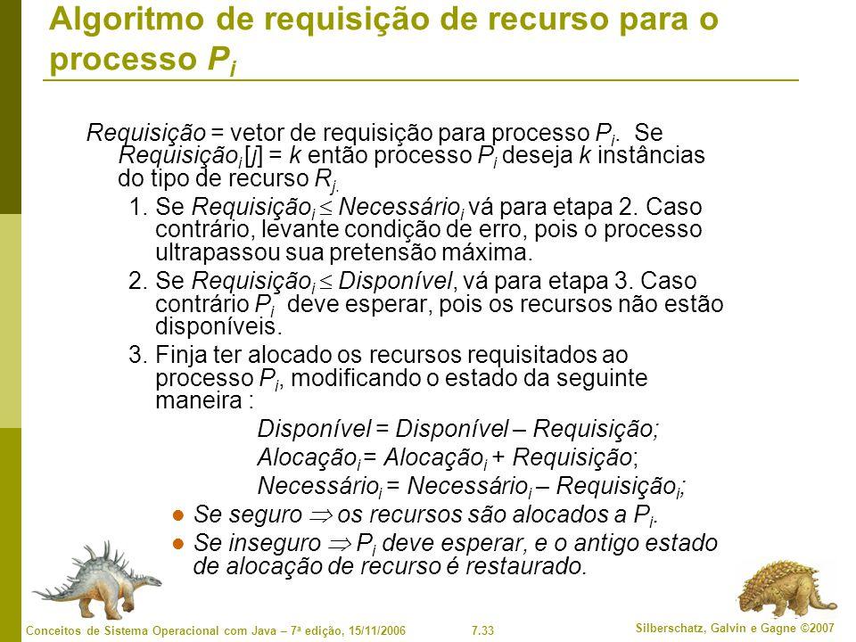 7.33 Silberschatz, Galvin e Gagne ©2007 Conceitos de Sistema Operacional com Java – 7 a edição, 15/11/2006 Algoritmo de requisição de recurso para o processo P i Requisição = vetor de requisição para processo P i.