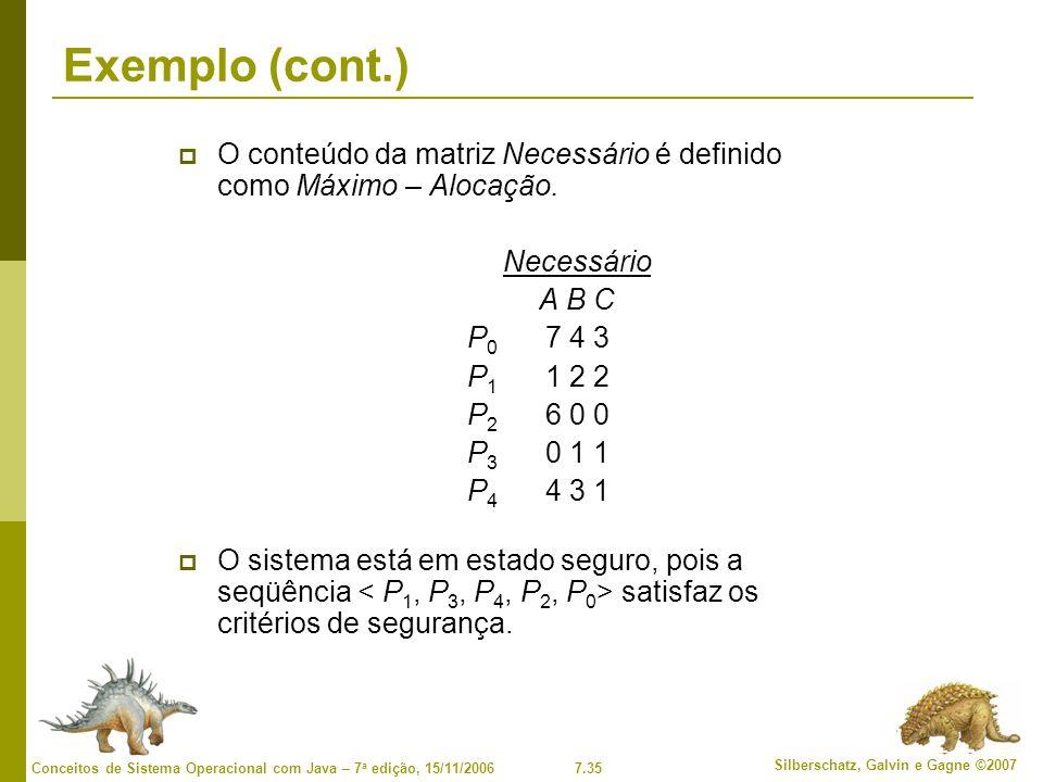 7.35 Silberschatz, Galvin e Gagne ©2007 Conceitos de Sistema Operacional com Java – 7 a edição, 15/11/2006 Exemplo (cont.) O conteúdo da matriz Necess
