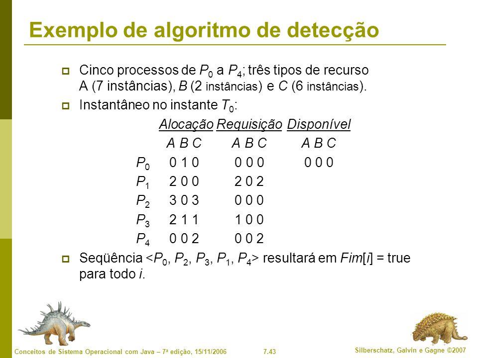 7.43 Silberschatz, Galvin e Gagne ©2007 Conceitos de Sistema Operacional com Java – 7 a edição, 15/11/2006 Exemplo de algoritmo de detecção Cinco processos de P 0 a P 4 ; três tipos de recurso A (7 instâncias), B (2 instâncias ) e C (6 instâncias ).