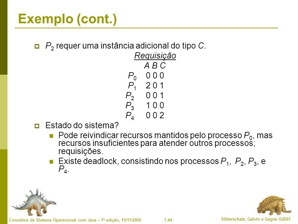 7.44 Silberschatz, Galvin e Gagne ©2007 Conceitos de Sistema Operacional com Java – 7 a edição, 15/11/2006 Exemplo (cont.) P 2 requer uma instância adicional do tipo C.