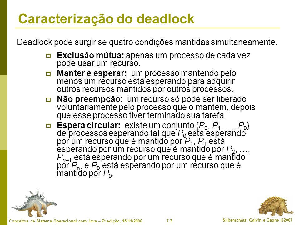 7.7 Silberschatz, Galvin e Gagne ©2007 Conceitos de Sistema Operacional com Java – 7 a edição, 15/11/2006 Caracterização do deadlock Exclusão mútua: apenas um processo de cada vez pode usar um recurso.
