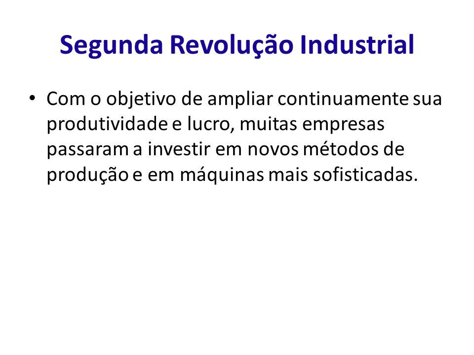 Segunda Revolução Industrial Com o objetivo de ampliar continuamente sua produtividade e lucro, muitas empresas passaram a investir em novos métodos d
