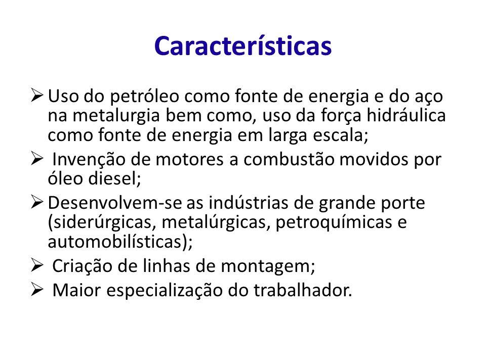 Características Uso do petróleo como fonte de energia e do aço na metalurgia bem como, uso da força hidráulica como fonte de energia em larga escala;