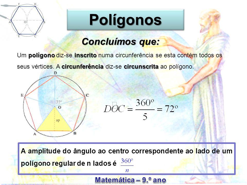 PolígonosPolígonos A amplitude do ângulo ao centro correspondente ao lado de um polígono regular de n lados é Um p pp polígono diz-se inscrito numa circunferência se esta contém todos os seus vértices.