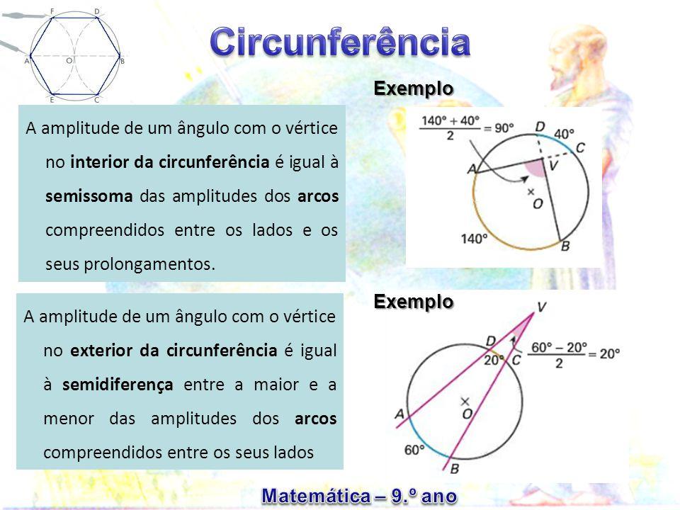 A amplitude de um ângulo com o vértice no interior da circunferência é igual à semissoma das amplitudes dos arcos compreendidos entre os lados e os seus prolongamentos.