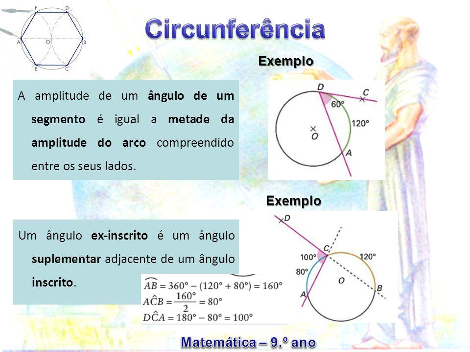 A amplitude de um ângulo de um segmento é igual a metade da amplitude do arco compreendido entre os seus lados.
