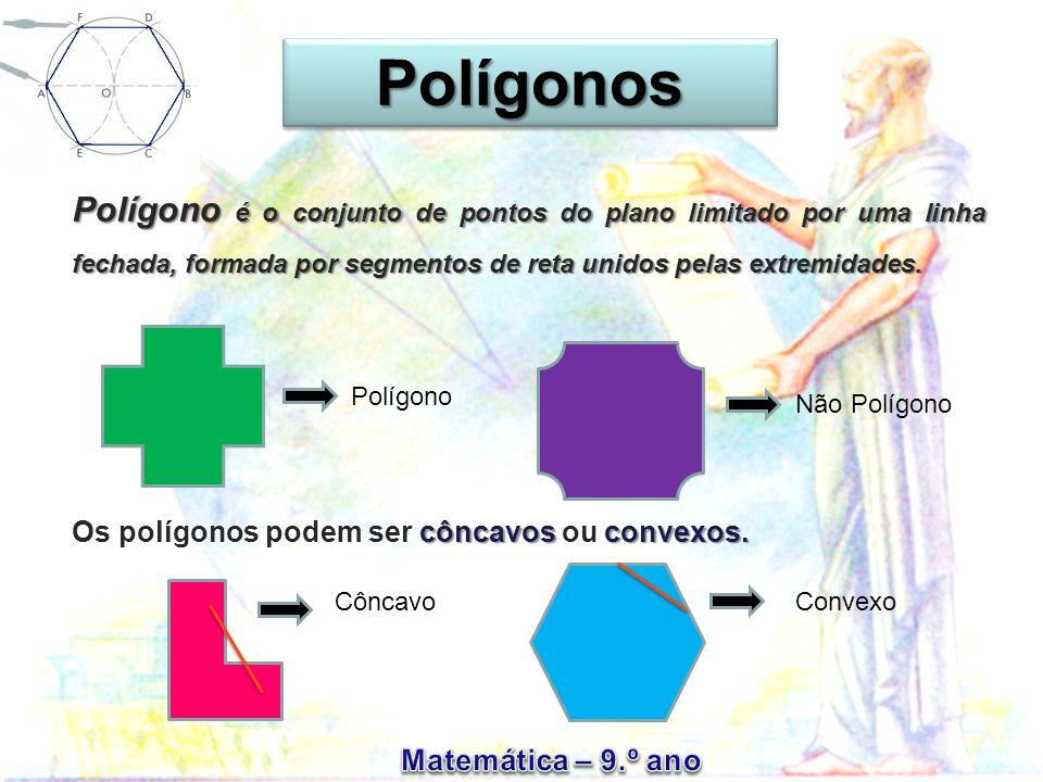 Polígono é o conjunto de pontos do plano limitado por uma linha fechada, formada por segmentos de reta unidos pelas extremidades.
