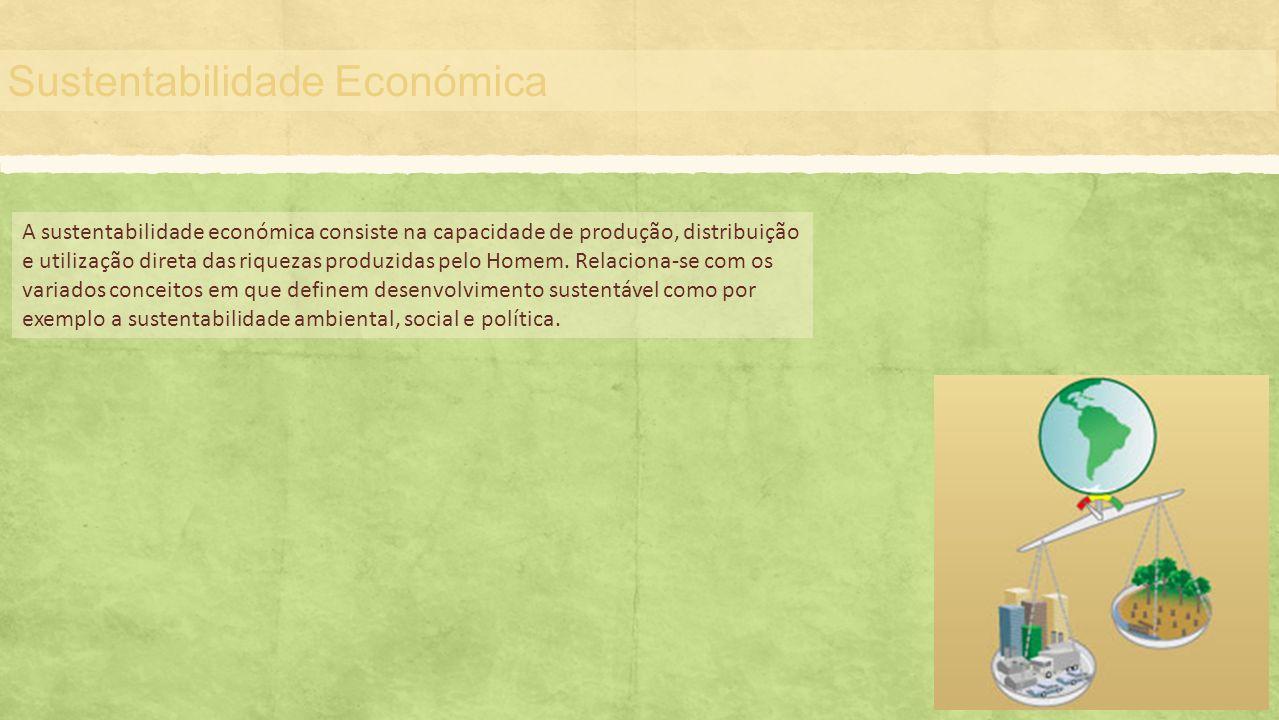 Sustentabilidade Económica A sustentabilidade económica consiste na capacidade de produção, distribuição e utilização direta das riquezas produzidas p