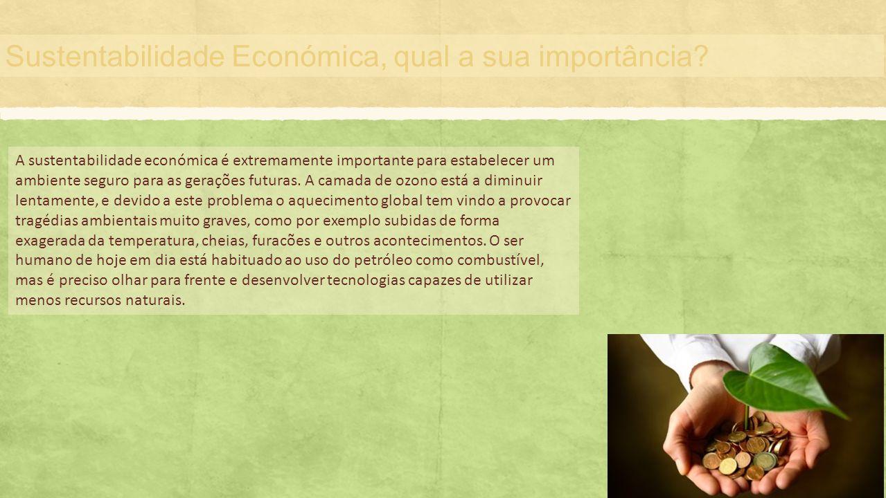 Sustentabilidade Económica, qual a sua importância? A sustentabilidade económica é extremamente importante para estabelecer um ambiente seguro para as