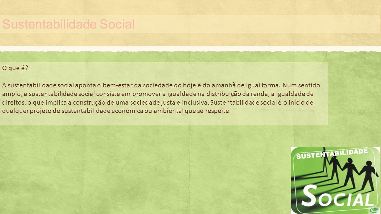 Sustentabilidade Social O que é? A sustentabilidade social aponta o bem-estar da sociedade do hoje e do amanhã de igual forma. Num sentido amplo, a su