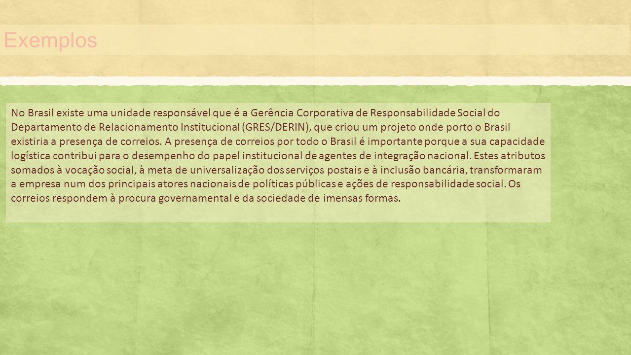 Exemplos No Brasil existe uma unidade responsável que é a Gerência Corporativa de Responsabilidade Social do Departamento de Relacionamento Institucio