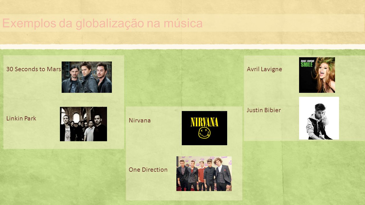 Exemplos da globalização na música 30 Seconds to Mars Linkin Park Nirvana One Direction Avril Lavigne Justin Bibier