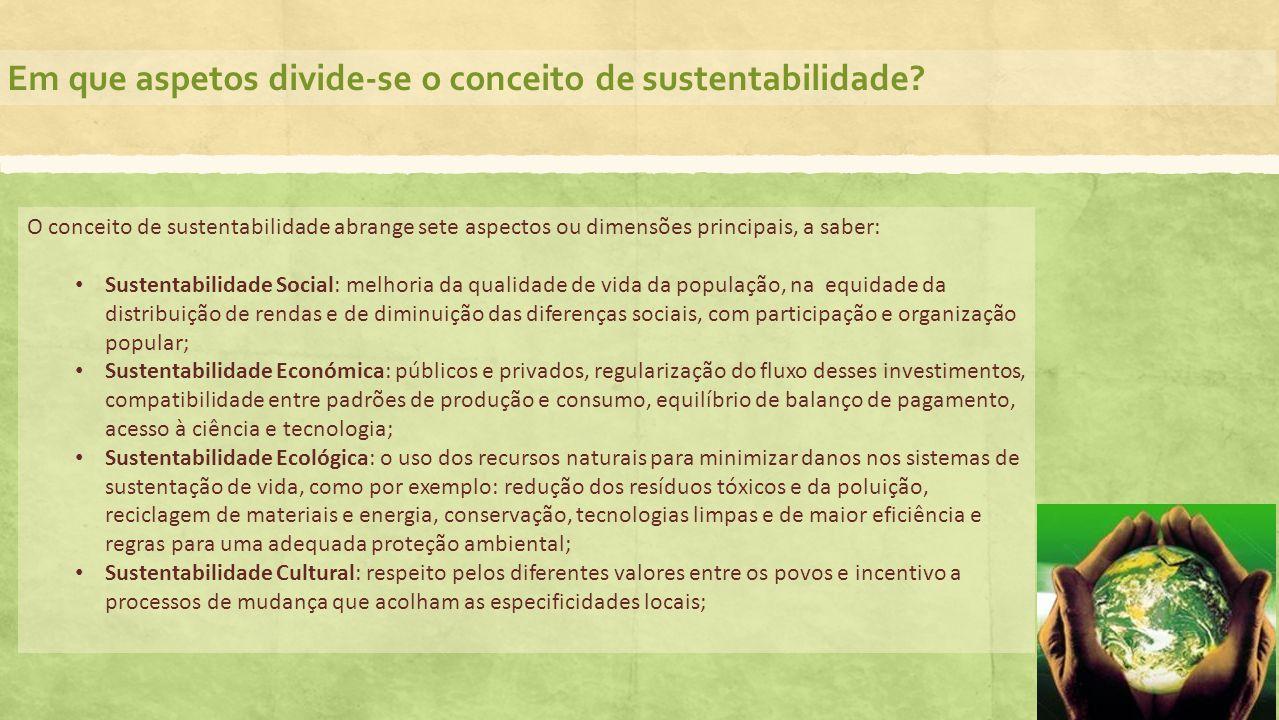 Em que aspetos divide-se o conceito de sustentabilidade? O conceito de sustentabilidade abrange sete aspectos ou dimensões principais, a saber: Susten