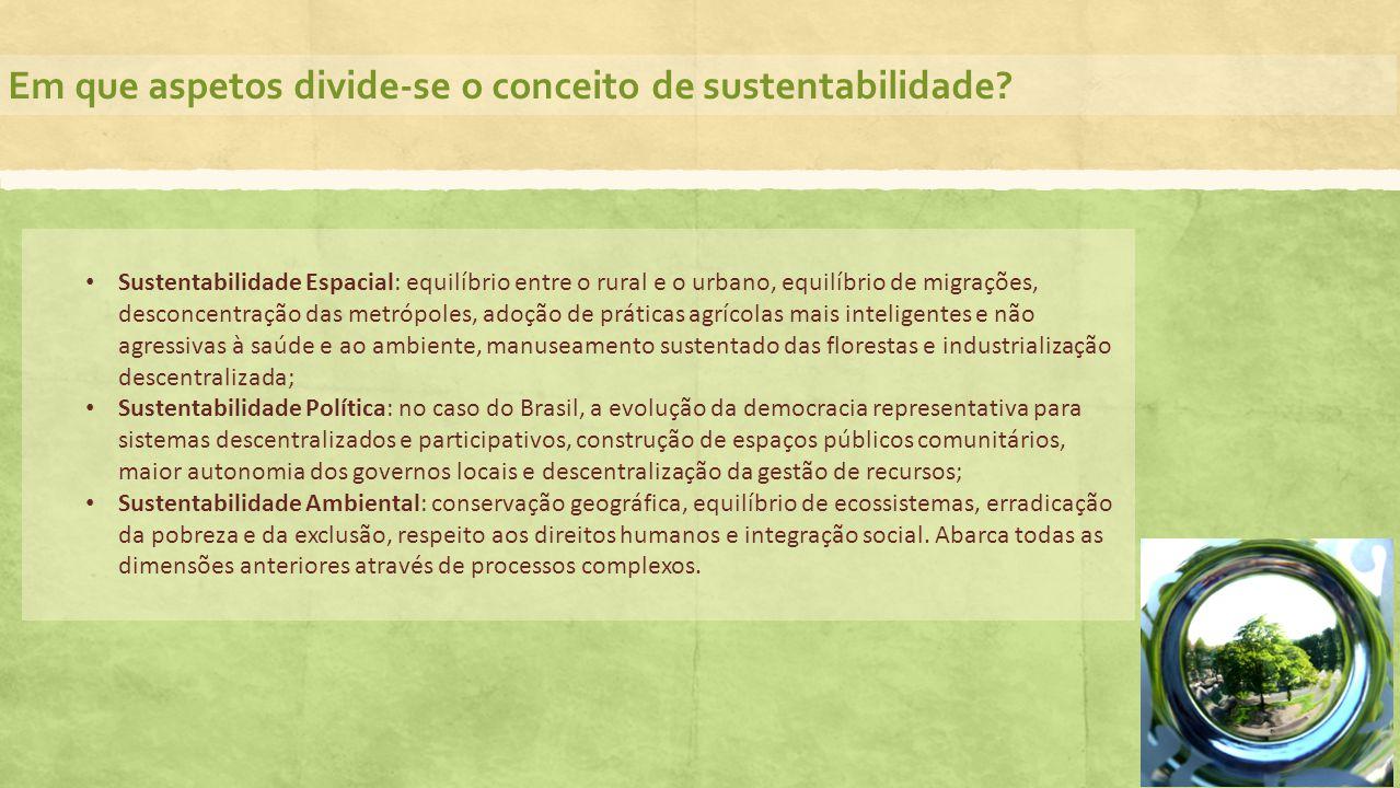 Em que aspetos divide-se o conceito de sustentabilidade? Sustentabilidade Espacial: equilíbrio entre o rural e o urbano, equilíbrio de migrações, desc