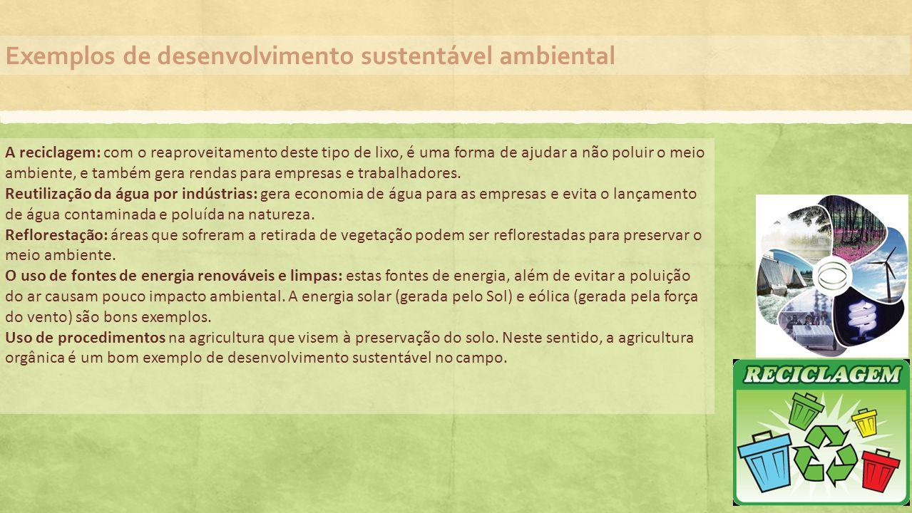 Exemplos de desenvolvimento sustentável ambiental A reciclagem: com o reaproveitamento deste tipo de lixo, é uma forma de ajudar a não poluir o meio a