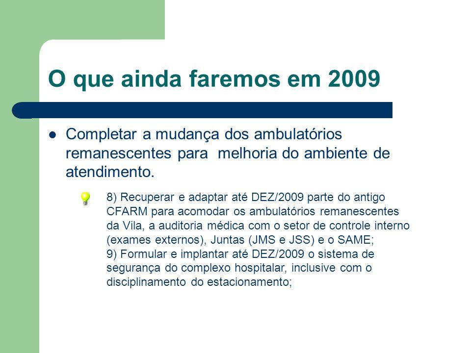 O que ainda faremos em 2009 Completar a mudança dos ambulatórios remanescentes para melhoria do ambiente de atendimento. 8) Recuperar e adaptar até DE