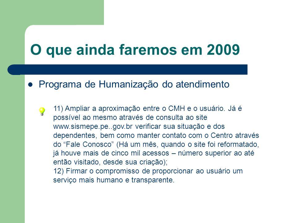 O que ainda faremos em 2009 Programa de Humanização do atendimento 11) Ampliar a aproximação entre o CMH e o usuário. Já é possível ao mesmo através d