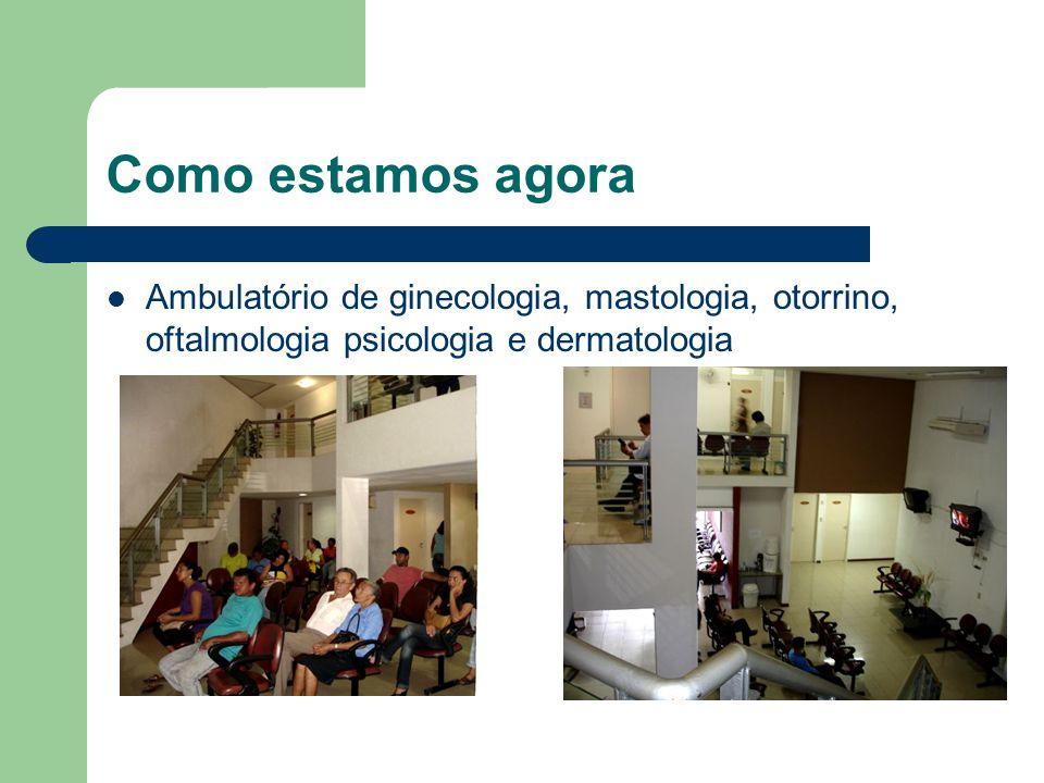 Como estamos agora Ambulatório de ginecologia, mastologia, otorrino, oftalmologia psicologia e dermatologia