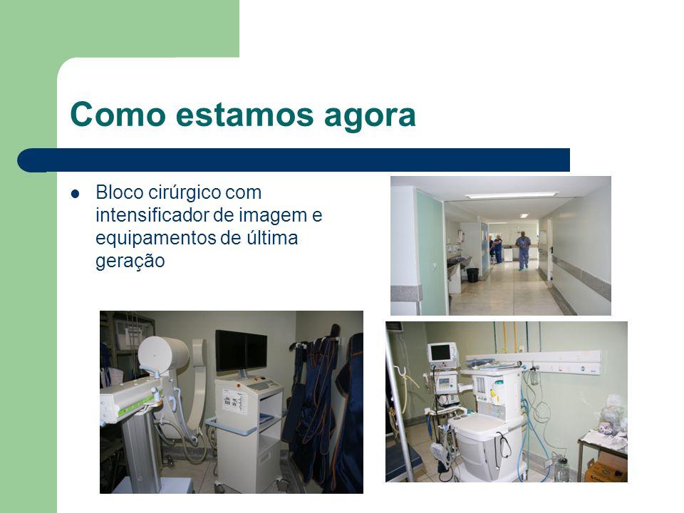 Como estamos agora Bloco cirúrgico com intensificador de imagem e equipamentos de última geração