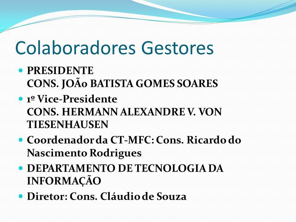 Colaboradores Gestores PRESIDENTE CONS. JOÃ0 BATISTA GOMES SOARES 1º Vice-Presidente CONS. HERMANN ALEXANDRE V. VON TIESENHAUSEN Coordenador da CT-MFC