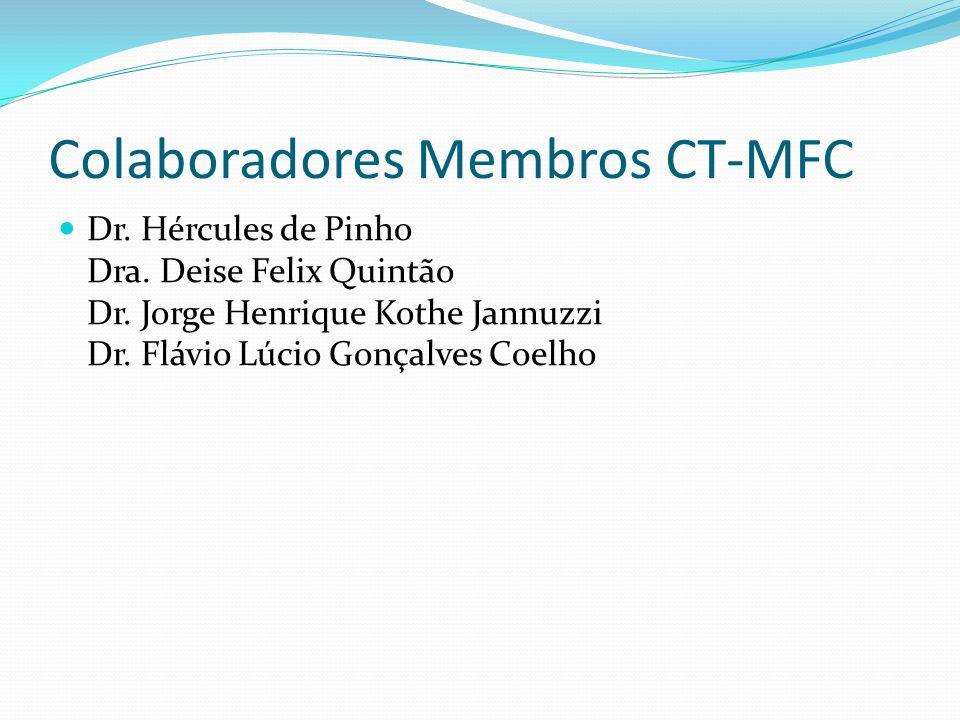 Colaboradores Membros CT-MFC Dr. Hércules de Pinho Dra. Deise Felix Quintão Dr. Jorge Henrique Kothe Jannuzzi Dr. Flávio Lúcio Gonçalves Coelho