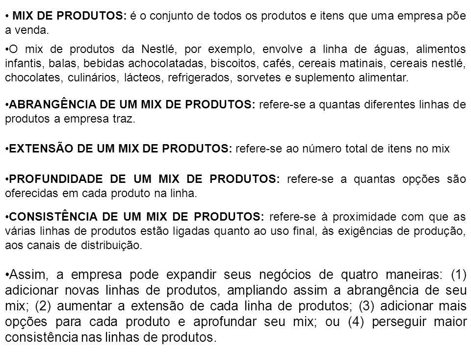 Assim, a empresa pode expandir seus negócios de quatro maneiras: (1) adicionar novas linhas de produtos, ampliando assim a abrangência de seu mix; (2)
