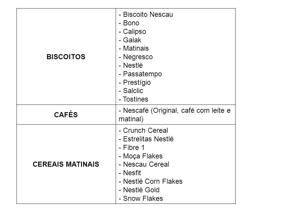 BISCOITOS - Biscoito Nescau - Bono - Calipso - Galak - Matinais - Negresco - Nestlé - Passatempo - Prestígio - Salclic - Tostines CAFÉS - Nescafé (Ori